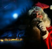 pic of santa claus hat  - Nostalgic magical portrait of Santa Claus at the North Pole - JPG