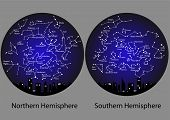 image of northern hemisphere  - constellations of the northern and southern hemisphere - JPG