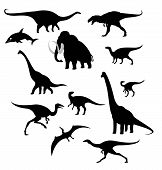 stock photo of prehistoric animal  - Vector image of silhouettes of prehistoric animals - JPG