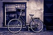image of copenhagen  - Classic vintage retro city bicycle in Copenhagen Denmark