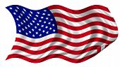 pic of usa flag  - United States of America flag billowing on white background - JPG