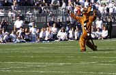 Penn State's mascot, the Nittany Lion entertains the crowd