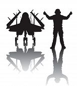foto of awacs  - Naval aircraft and crewman vector silhouette with reflection - JPG