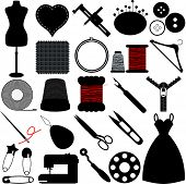 stock photo of handicrafts  - Vector Silhouette of Sewing Tools and Handicraft accessories - JPG
