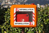 stock photo of defibrillator  - Automated external defibrillator for emegency cardiac treatment - JPG