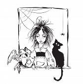 foto of baby spider  - Baby witch with black cat raven and spider looking out the window  - JPG
