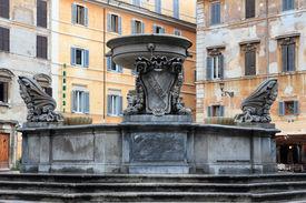 stock photo of spqr  - Fountain in Piazza Santa Maria in Trastevere in Rome  - JPG