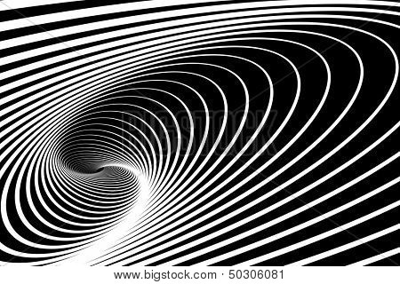 Spiral whirl movement. Abstract op art background. Vector art.