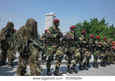 KUALA LUMPUR - AUGUST 31: Snipers and Recce scouts from the 10th Airborne Brigade parade on the city streets celebrating Malaysia's Independence Day on August 31, 2013 in Kuala Lumpur, Malaysia.