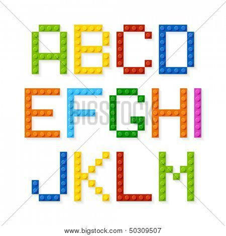 Plastic construction blocks alphabet. Vector.