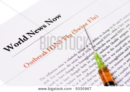Outbreak Swine Flu Newspaper Headline With Syringe