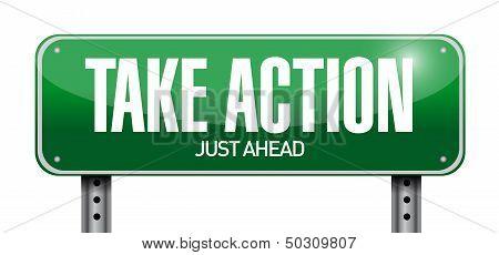 Take Action Road Sign Illustration Design