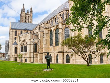 Canterbury Cathedral with The Son of Man Statue in Canterbury, Kent,  England