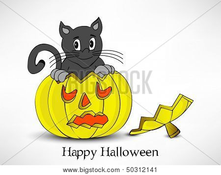 Poster, banner or flyer for Halloween party night with scary pumpkins and domestic cat on abstract grey background.