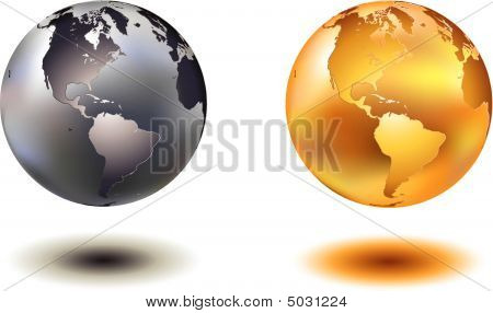 Chrome And Golden World Globe