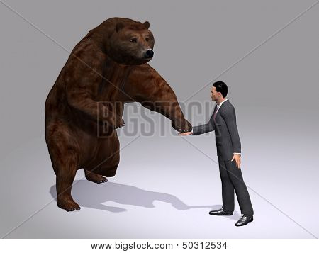 Concept or conceptual 3D human or business man hand shaking a big angry bear on gray background