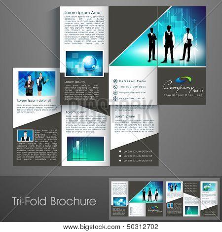 Profesionales tres veces folleto plantilla, folleto corporativo o diseño de la cubierta, puede utilizarse para