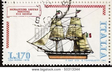 ITALY - CIRCA 1978: a stamp printed in Italy shows image of  Brigantino Ligure Fortuna (Luck Ligurian Brigantine). Italy, circa 1978