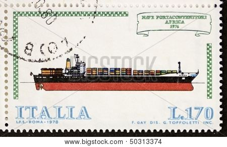 ITALY - CIRCA 1978: a stamp printed in Italy shows image of  Container ship. Italy, circa 1978