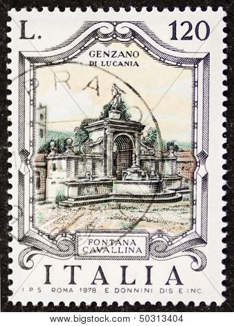 ITALY - CIRCA 1978: a stamp printed in Italy shows Fontana Cavallina, built in the 19th century in Genzano di Lucania. Italy, circa 1978