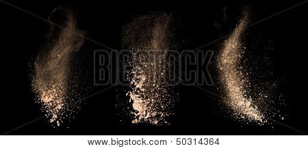 Isolated make-up powder on black background