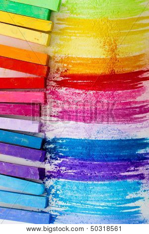 Back to school, colorful chalk pastels - education, arts, creative concept