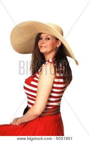 Woman In Red Dress And Hat.