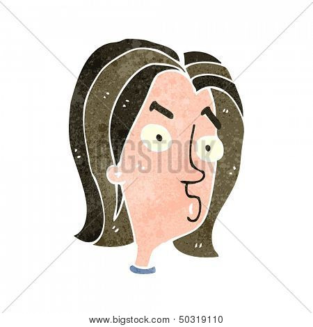 retro cartoon annoyed female face