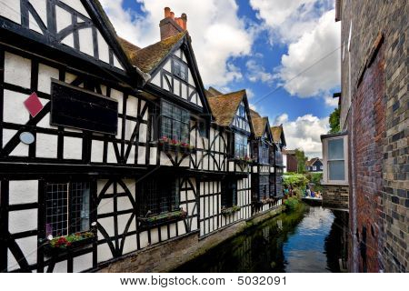 Old Pub Next To Canal In Canterbury