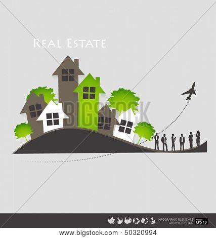 Real Estate House. Vector illustration.