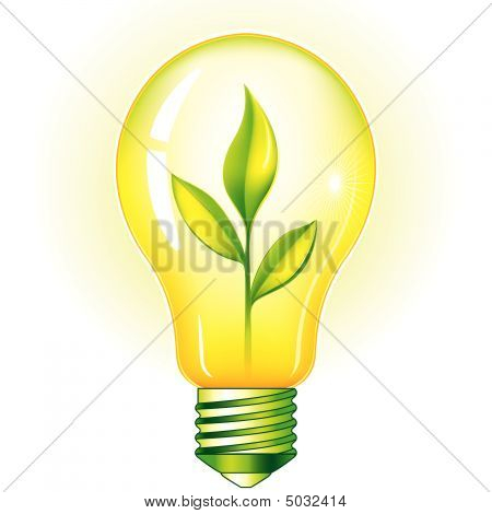 Green Light Bulb With Green Leaves