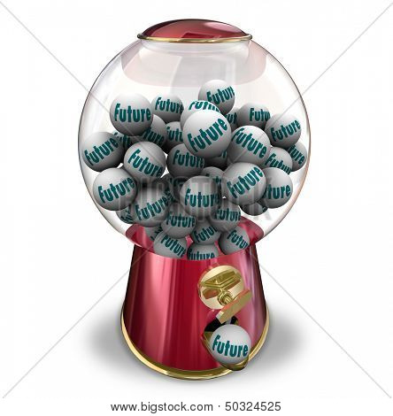 The word Future on gumballs dispensed to predict your next actions or fate tomrrow or moving forward