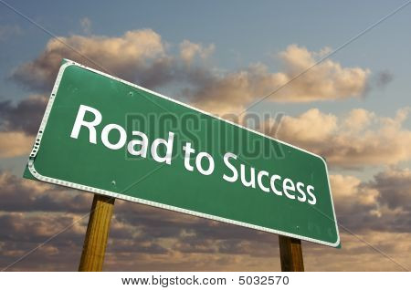 Road To Success Green Road Sign