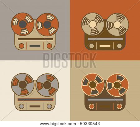 Retro reel to reel tape recorder icon