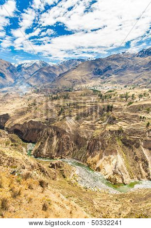 Colca Canyon, Peru,south America. The Incas  To Build Farming Terraces  With Pond And Cliff. One Of
