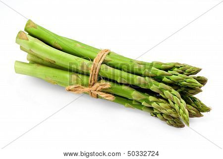 Asparagus Bunch On White