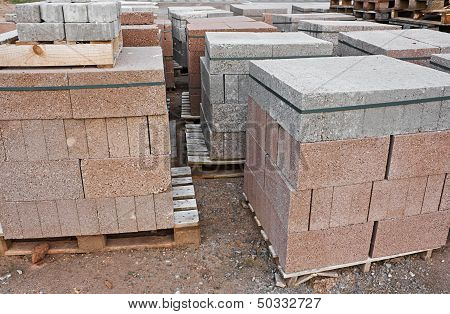 Skids Of Cinder Blocks