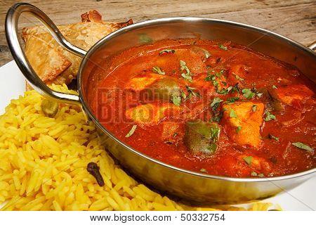 Chicken Jalfrezi In Balti Dish With Rice