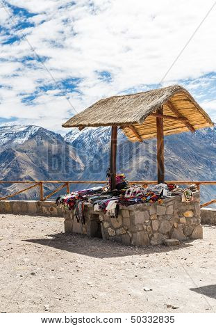 Market, Hawkers In Colca Canyon, Peru, South America. Colorful Blanket,  Scarf, Cloth, Ponchos From