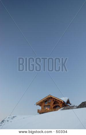 Ski Chalet And Sky