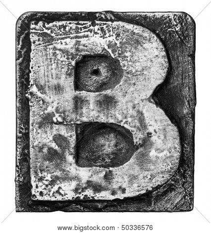 Metal alloy alphabet letter B