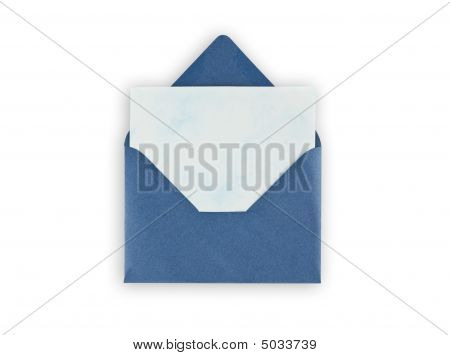 Old Open Envelope With Paper On White Background.