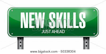 New Skills Road Sign Illustration Design