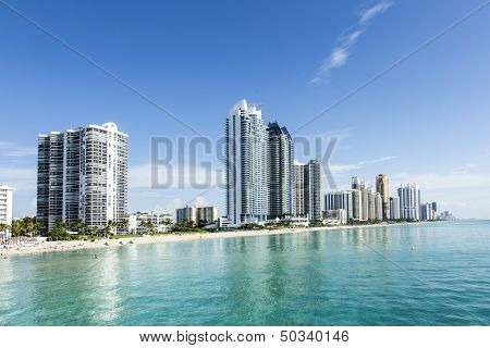 Beautiful Beach With Condominiums And Skyscraper In Sunny Islands
