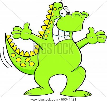 Cartoon dinosaur with extended arms
