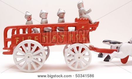 Vintage Cast Iron Toy Fire Department Wagon