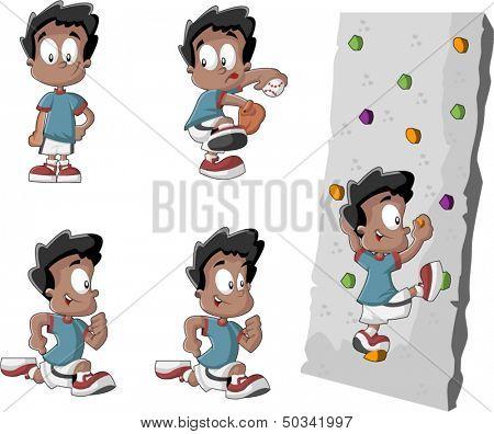 Cute playful cartoon black boy playing baseball, running and climbing a wall