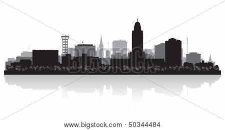 Lincoln Nebraska City Skyline Silhouette