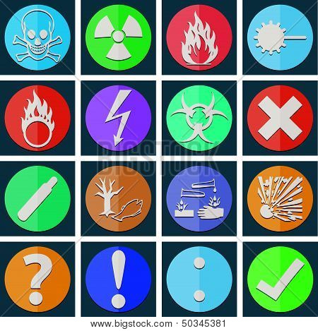 Danger Icon Color Paper Fold Style 02
