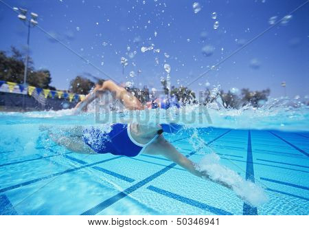 Female swimmer in United States swimsuit swimming in pool